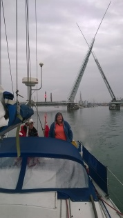 This is the Twin Sails Bridge closing behind us after leaving Cobbs Quay